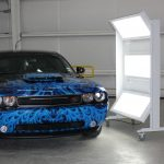Blue flames in a Dodge Challenger Mobile Lite